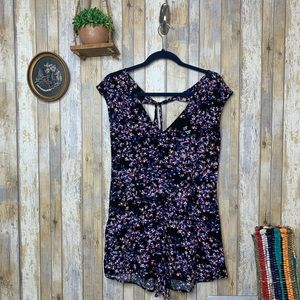 Express Floral Deep V-Neck Tie Back Romper